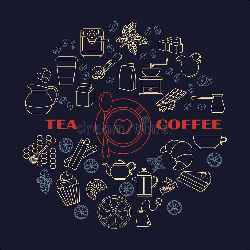 Composition ronde en icônes de thé et de coffe illustration stock
