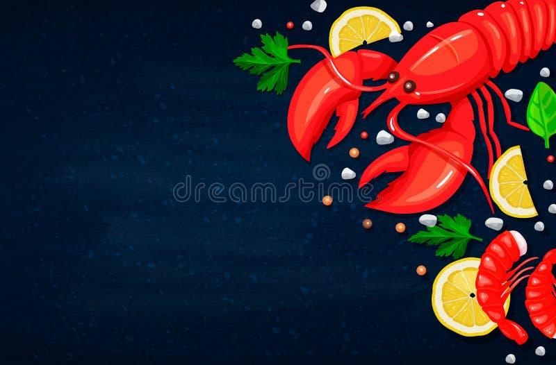Composition rouge de vecteur de dîner de langoustine Nourriture saine faisant cuire le concept illustration de vecteur