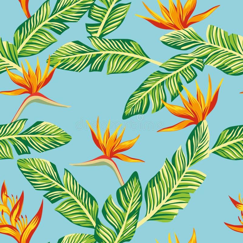 Composition sans couture des feuilles et du flowe tropicaux verts de banane illustration stock