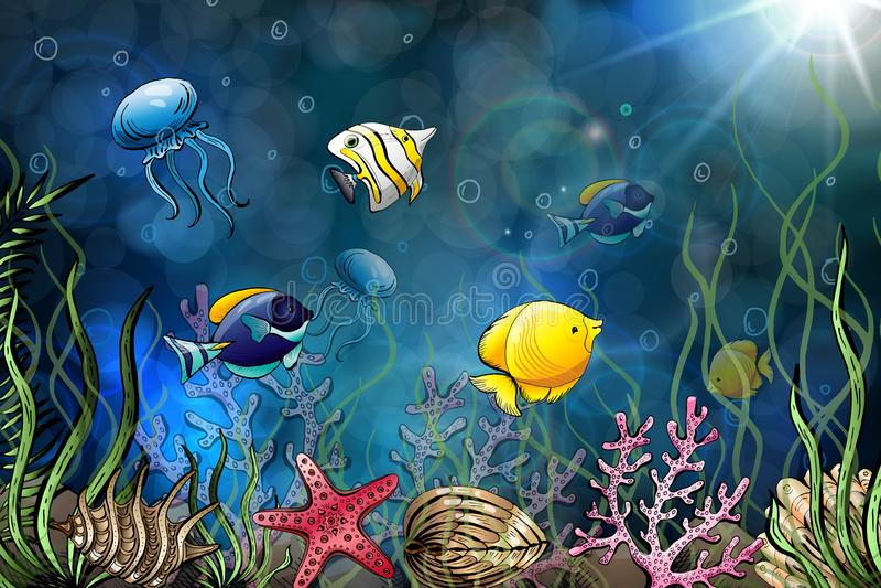 Composition of seashells, starfish, jellyfish. Underwater world. Sea background. Vector illustration. stock illustration