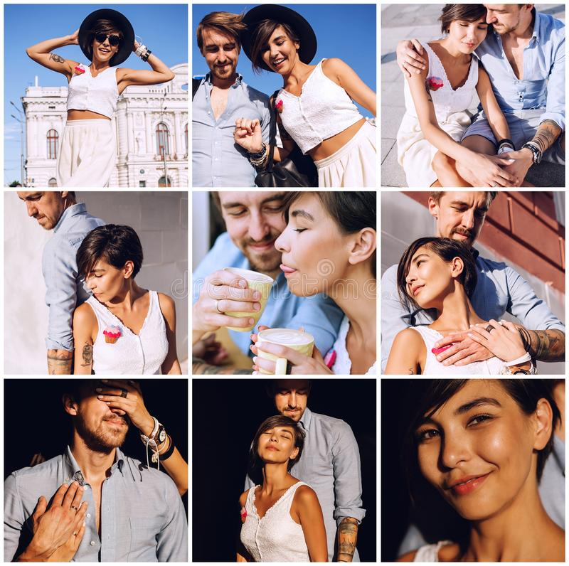 Composition of sensual couple in city stock photos