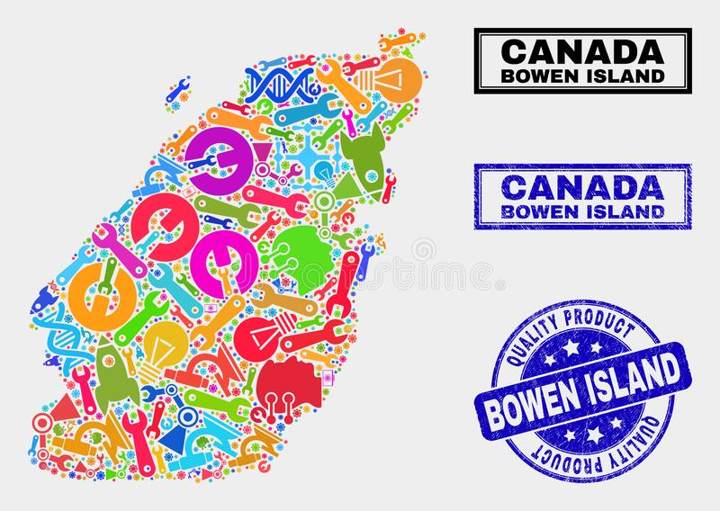 Composition of Service Bowen Island Map and Quality Product Seal. Vector composition of service Bowen Island map and blue seal for quality product. Bowen Island vector illustration