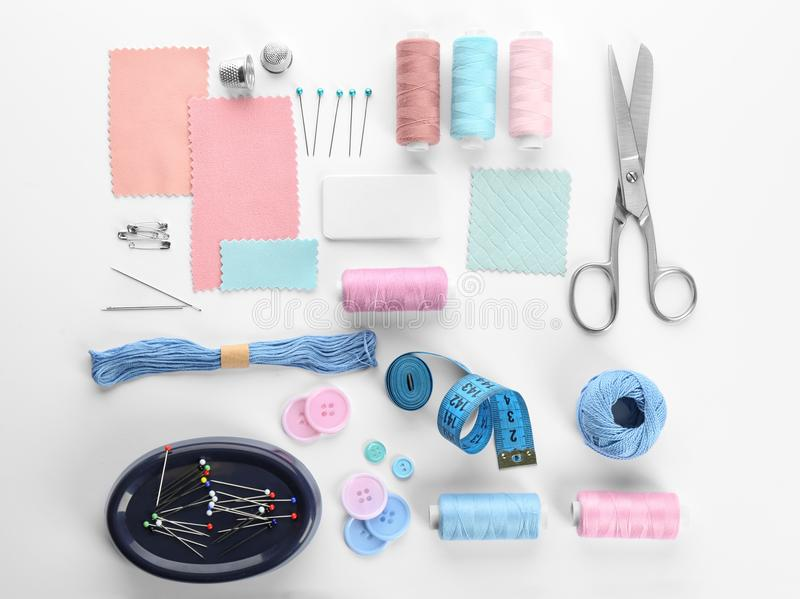 Composition with sewing threads and accessories stock images