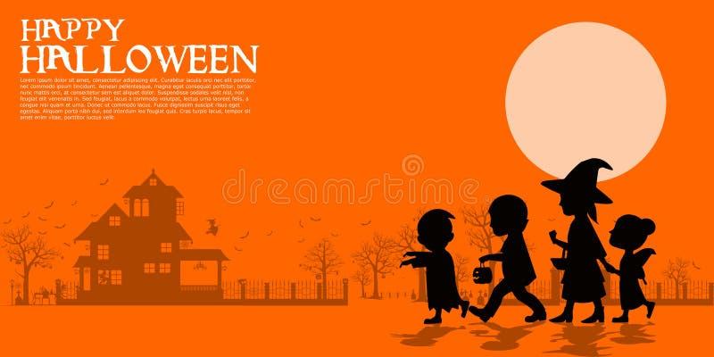 Composition of silhouette Halloween children vector illustration