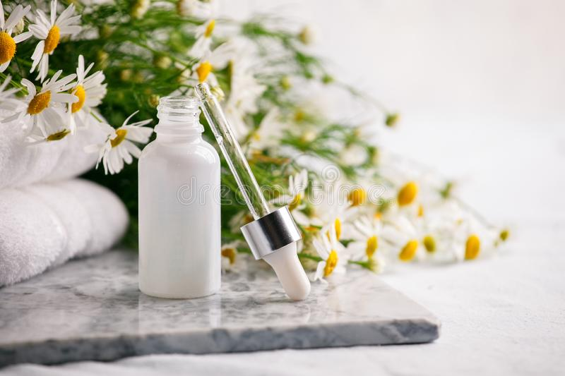 Composition with skin care products in zero waste package and chamomile flowers on marble plate, Concept of flowers and organic royalty free stock images