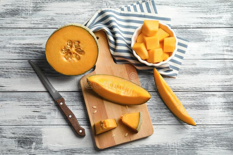 Composition with sliced melon on background royalty free stock photography