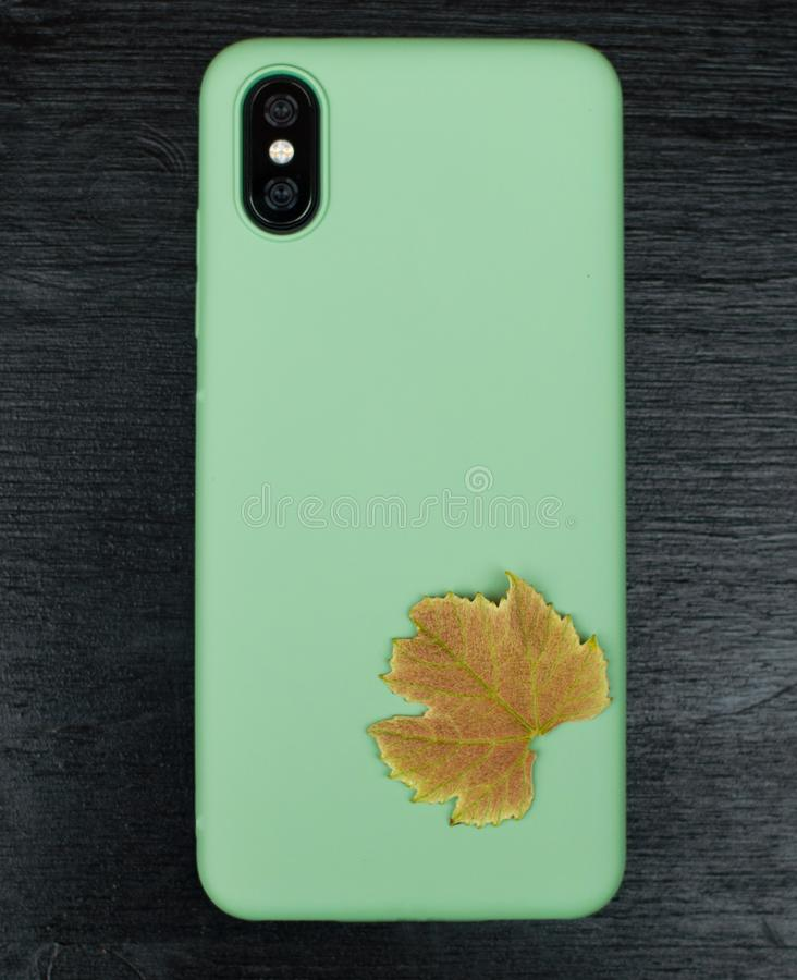 Composition with smartphone in unbranded mint / teal color case, headphones, green leaves of grape on black wooden table. Music lo. Ver background stock images