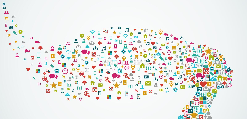 Composition sociale en icônes de media de forme de tête humaine. E illustration libre de droits