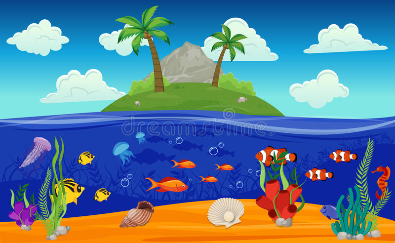 Download Composition Sous-marine En île Du Monde Illustration de Vecteur - Illustration du anémone, crabe: 77160568