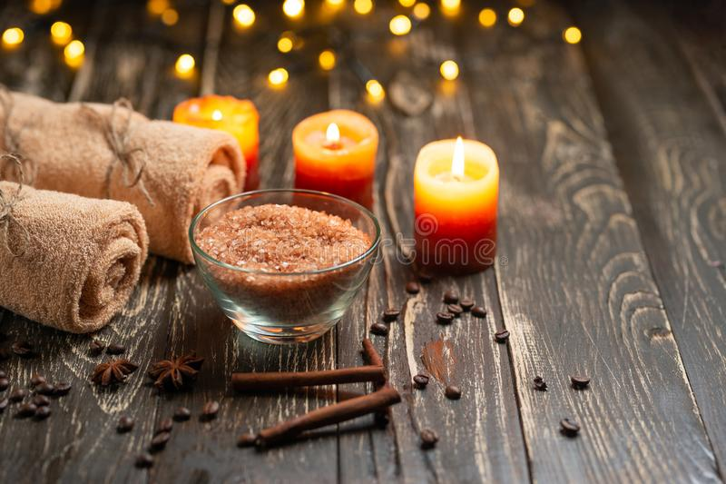 Composition of spa treatment on a wooden background, the concept of beauty and health.  stock images