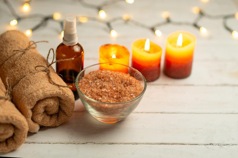 Composition of spa treatment on a wooden background, relaxation and beauty with space for designer.  royalty free stock photo