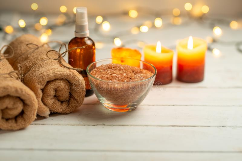Composition of spa treatment on a wooden background, relaxation and beauty with space for designer.  stock photo