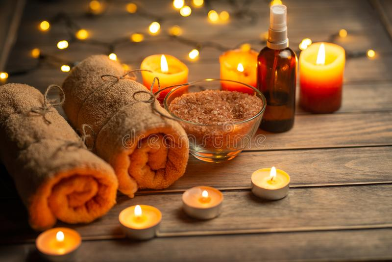 Composition of spa treatment on a wooden background, relaxation and beauty with space for designer.  stock image