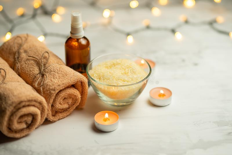 Composition of spa treatment on a wooden background, relaxation and beauty with space for designer.  stock images