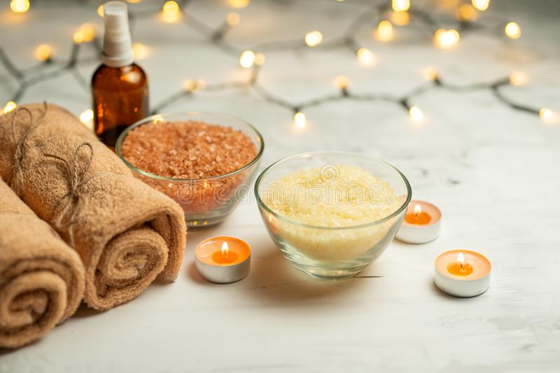 Composition of spa treatment on a wooden background, relaxation and beauty with space for designer.  royalty free stock images