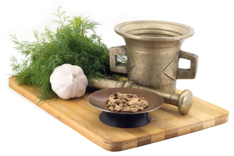 Composition of spices, Bengal Cardamoms , dill, garlic, vintage spice grinder isolated on white background royalty free stock images