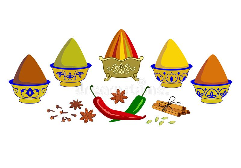 Composition of spices and herbs in copper bowls on the market. Assorted oriental spices - pepper, paprika, turmeric, curry, ginger, cardamom, cinnamon, chili royalty free illustration