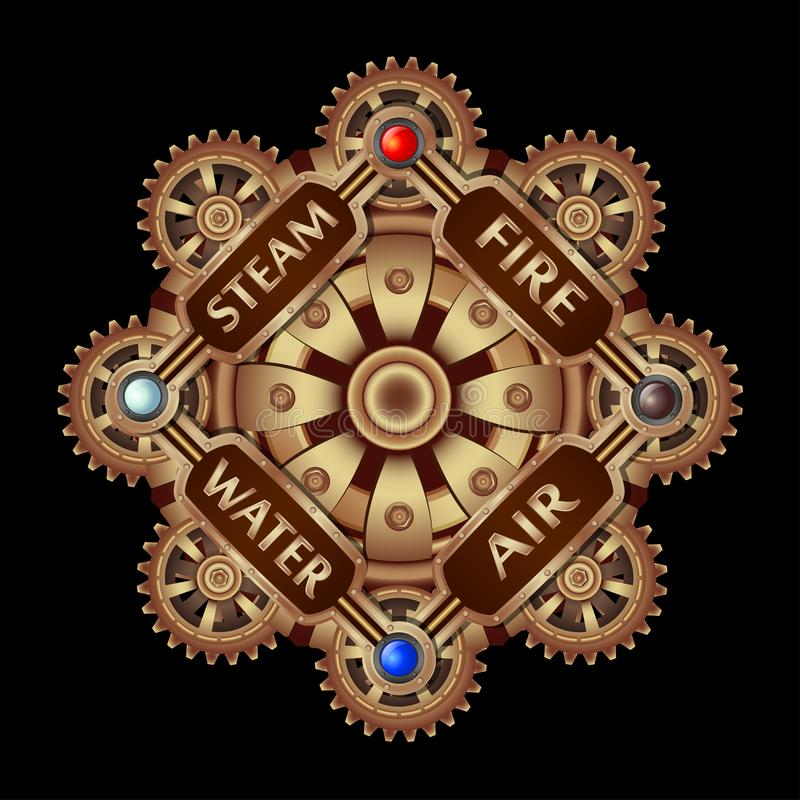 Composition in stipmank style round with brass gears. royalty free illustration