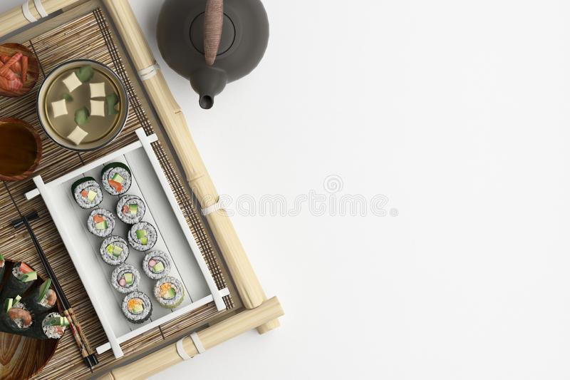 Composition of sushi and rolls set on a white background. Banner with copy space for text. A set of traditional japanese food on t. He top view. 3D rendering vector illustration