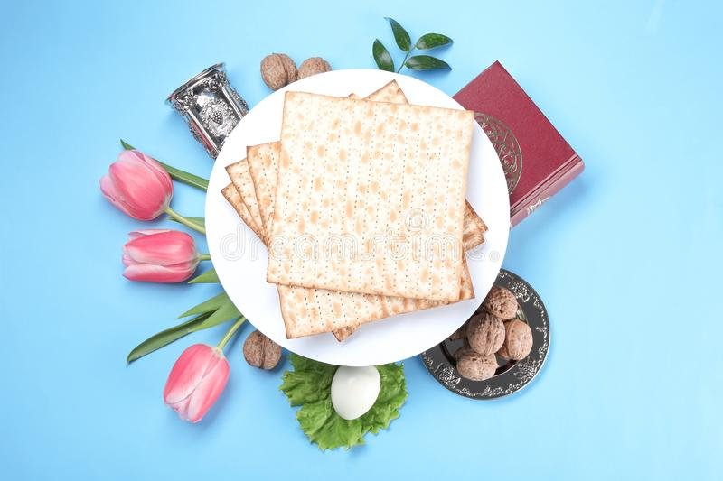 Composition with symbolic Passover Pesach items on color background. Top view royalty free stock image