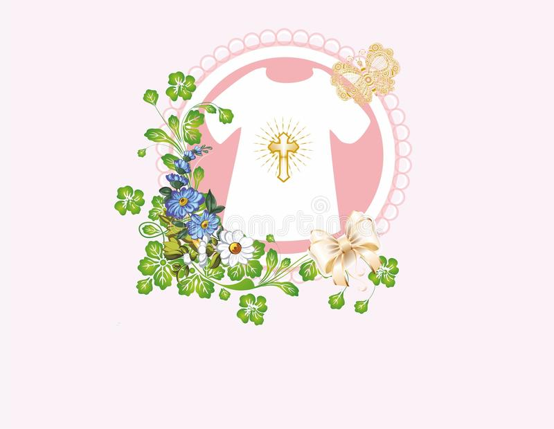 Composition for baptism. Composition with symbols characteristic of baptism stock illustration