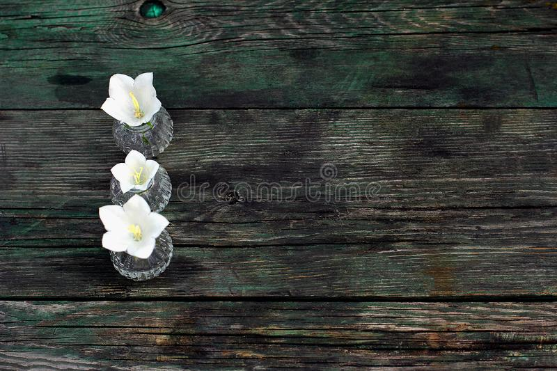 The composition of the three flowers in vases. wooden table. flat lay, top view stock images