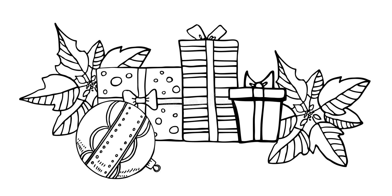 Composition with three gift boxes, Christmas toys and poinsettia plants. Hand drawn vector illustration of New Year decorations stock illustration