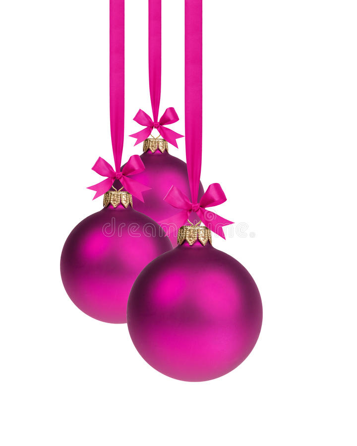 Download Composition From Three Purple Christmas Balls Hanging On Ribbon Stock Image - Image: 34681307