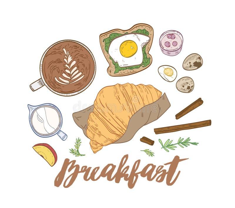 Composition tirée par la main décorative avec les repas de petit déjeuner et la nourriture appétissants de matin - croissant, san illustration stock