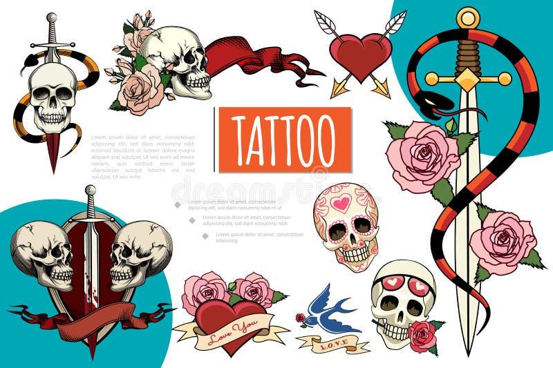 Composition tirée par la main en éléments de tatouage illustration stock