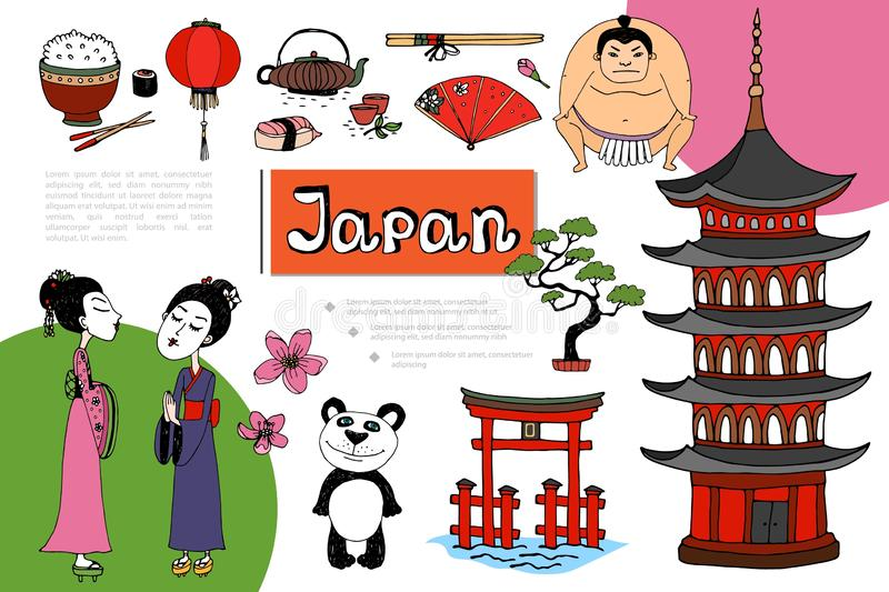 Composition tirée par la main en éléments du Japon illustration de vecteur