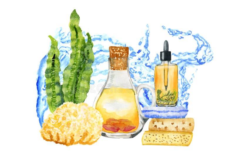 Composition tirée par la main en aromatherapy de STATION THERMALE d'aquarelle sur le blanc avec de l'eau illustration libre de droits
