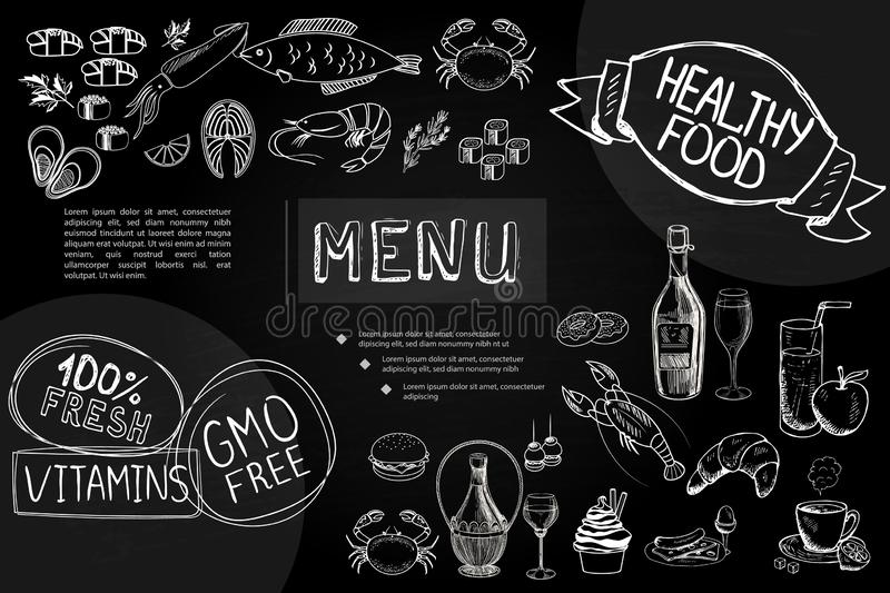 Composition tirée par la main en menu de café illustration stock