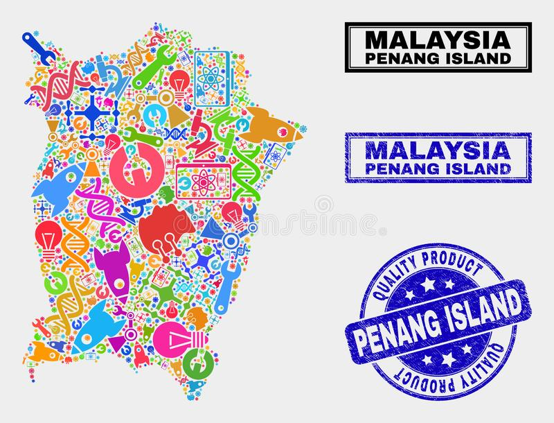 Composition of Tools Penang Island Map and Quality Product Watermark. Vector collage of service Penang Island map and blue watermark for quality product. Penang stock illustration