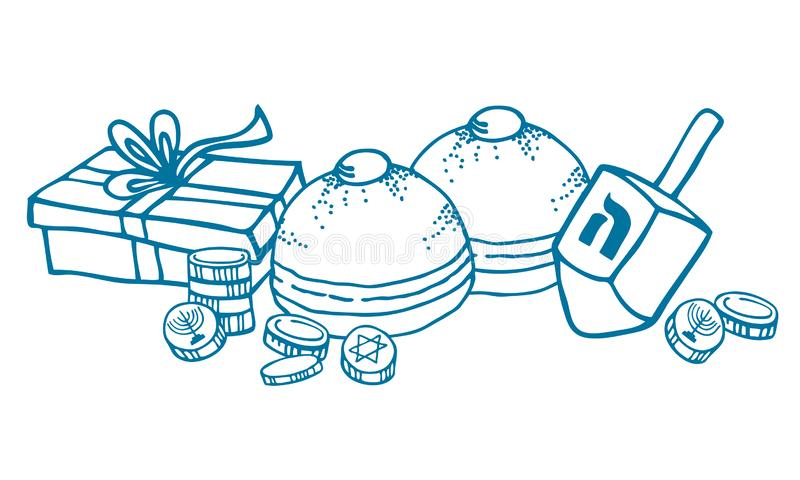 Composition with traditional Hanukkah objects and food. Donuts, coins, dreidel and gift box. Hand drawn outline vector royalty free stock images