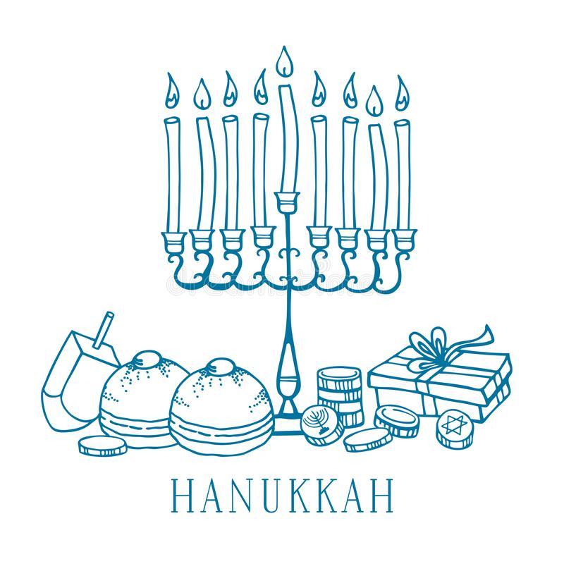 Composition with traditional Hanukkah objects. Menorah, donuts, dreidel, coins. Outline vector sketch illustration vector illustration