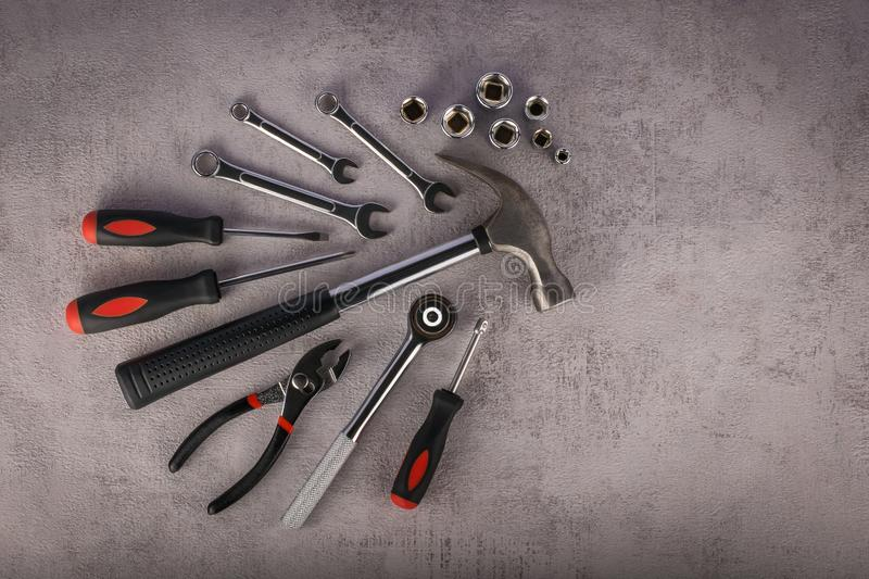 Composition of various construction tools royalty free stock images