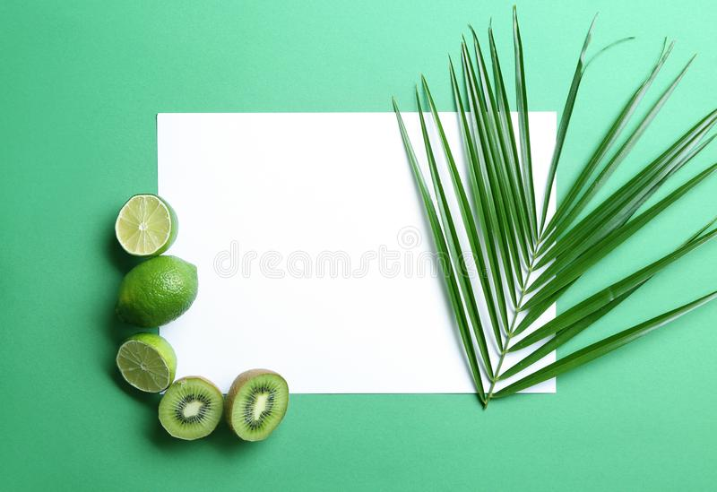 Composition with various delicious fruits, tropical leaf and blank card on color background royalty free stock photography