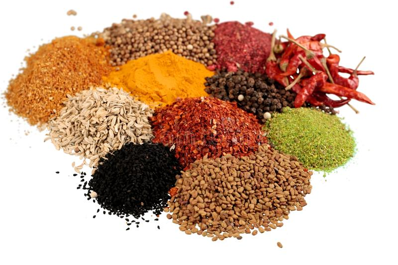 Composition of various spices on white background royalty free stock photos