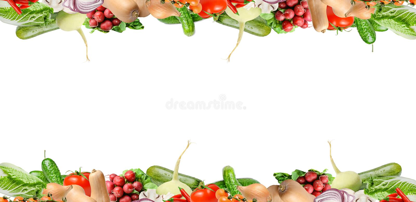 Composition with various types of vegetables in the upper and lower part of the frame. Isolated on white. Place for text. Composition with various types of stock photo