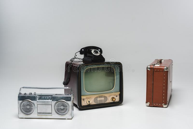 composition of various vintage objects on grey royalty free stock photography