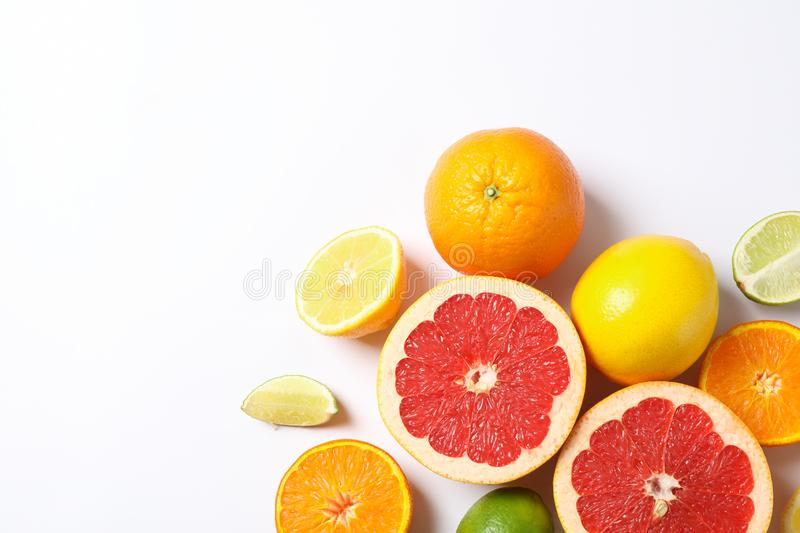Composition with vegetables and fruits on white background. Space for text royalty free stock photos