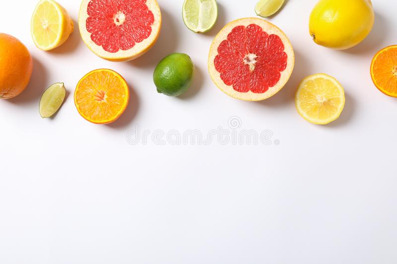 Composition with vegetables and fruits on white background. Space for text royalty free stock photo
