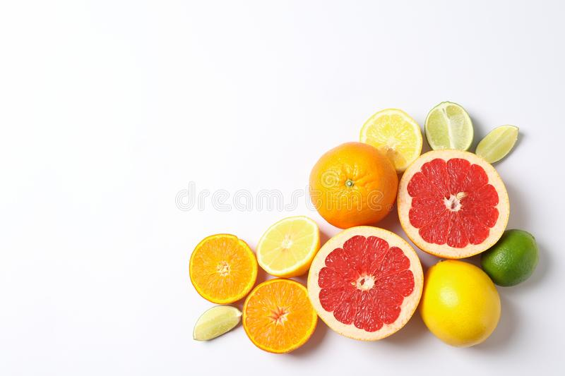 Composition with vegetables and fruits on white background. Space for text stock images
