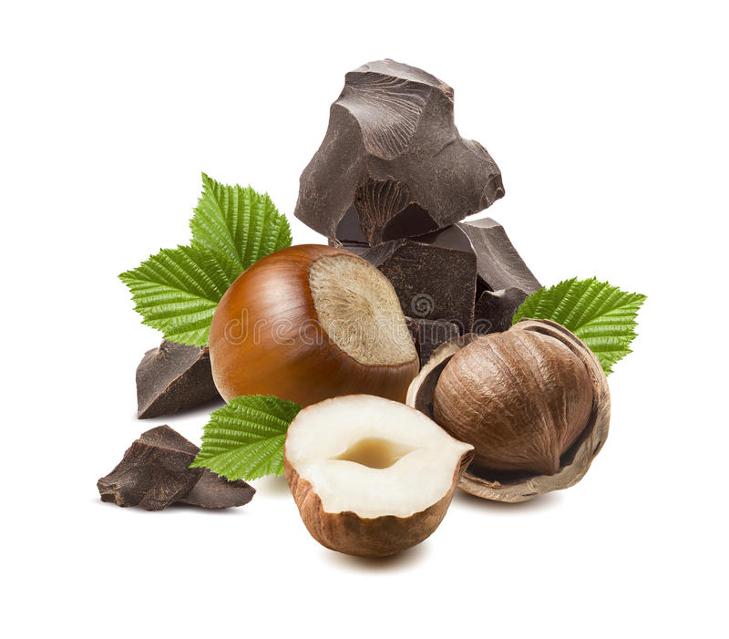 Composition verticale en chocolat de noisette d'isolement photo libre de droits