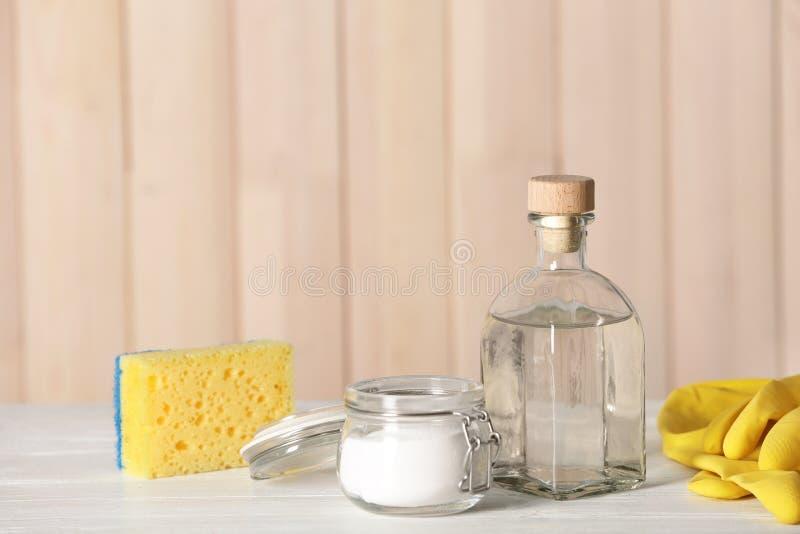 Composition with vinegar, baking soda stock photo