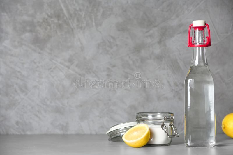 Composition with vinegar, lemon and baking soda royalty free stock photo