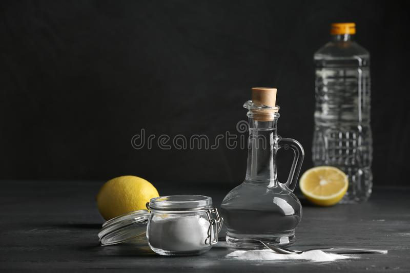 Composition with vinegar, lemon and baking soda stock image