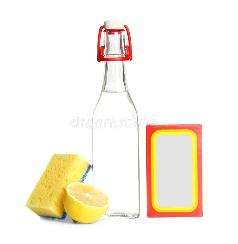 Composition with vinegar, lemon and baking soda stock images