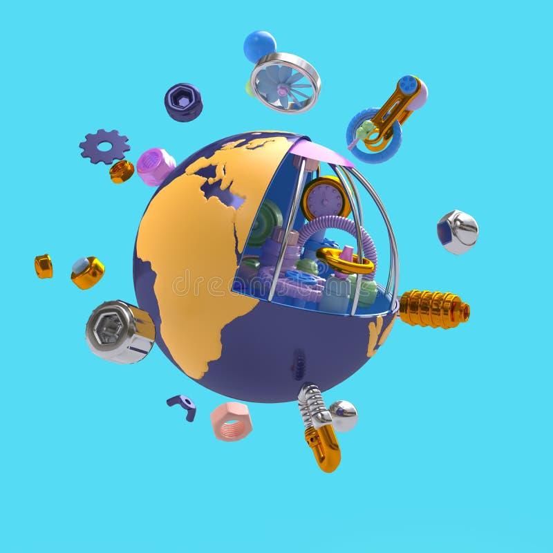 Composition volante des éléments mécaniques desquels la planète est conçue sur un fond bleu rendu de -3D illustration stock